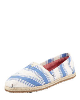 TOMS Umbrella-Stripe Espadrille Slip-On, Navy