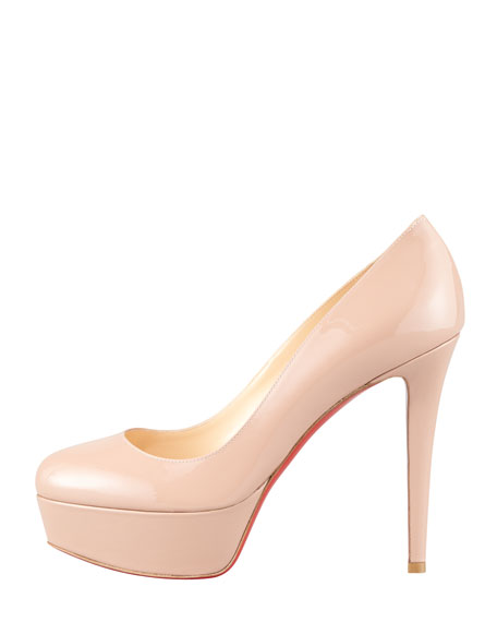 Bianca Patent Leather Platform Red Sole Pump, Nude