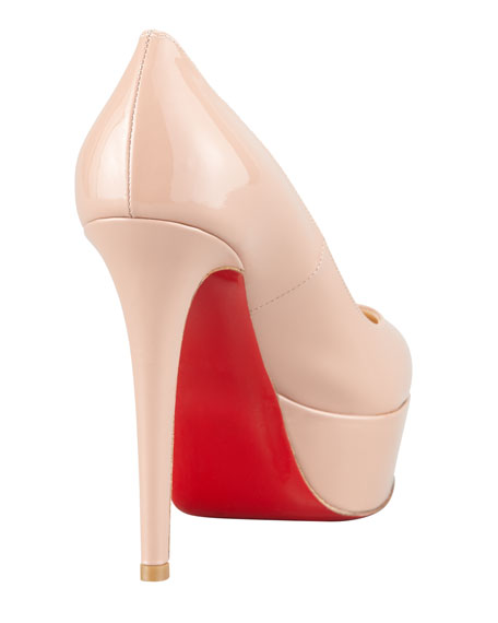 Christian Louboutin Bianca Almond-Toe Platform Red Sole Pump, Nude