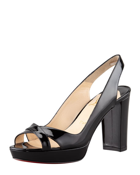 Marpolo Patent Red Sole Slingback, Black