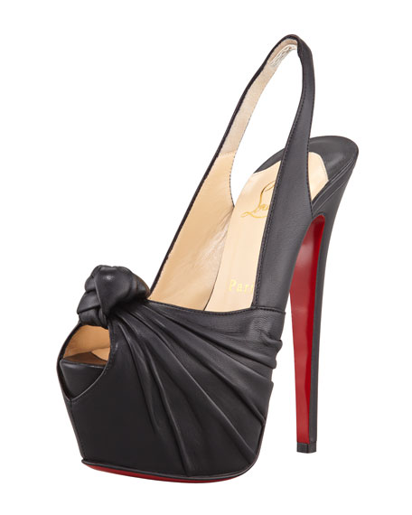 Miss Benin Leather Knotted Platform Red Sole Slingback, Black