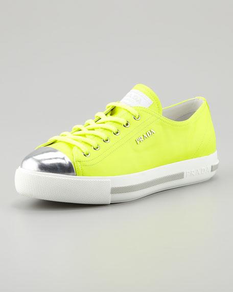 Metallic Cap-Toe Neon Platform Sneaker