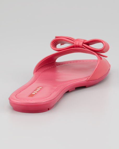 Patent Leather Logo Bow Slide Sandal, Fuchsia