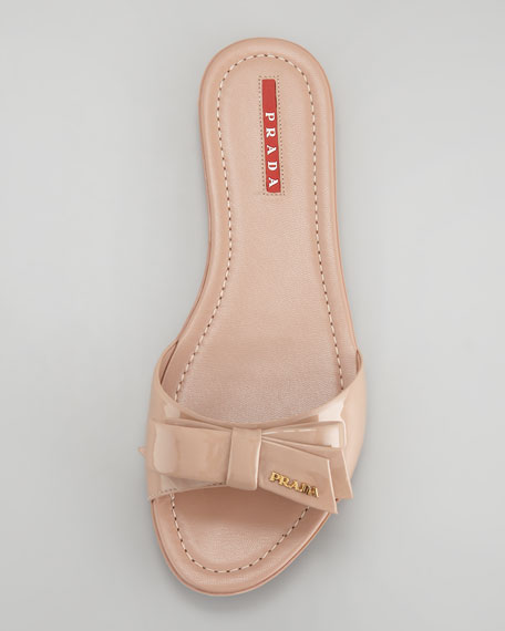 Patent Leather Logo Bow Slide Sandal, Nude