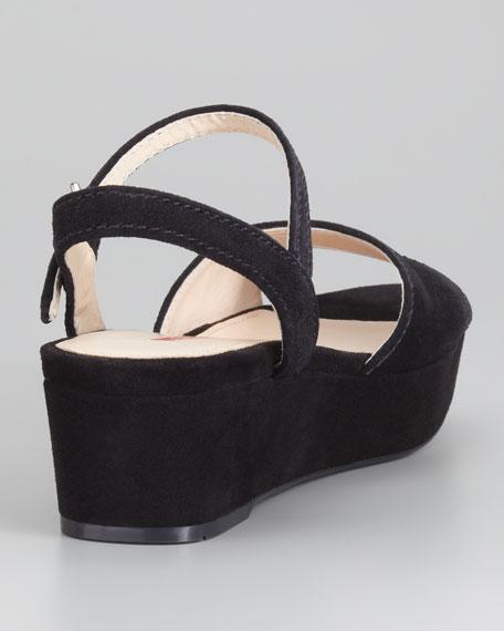 Suede Flatform Sandal, Black