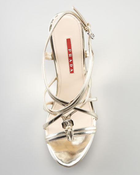 Metallic Strappy Wedge Sandal, Gold