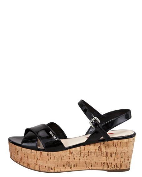 Patent Crisscross Wedge Sandal, Black