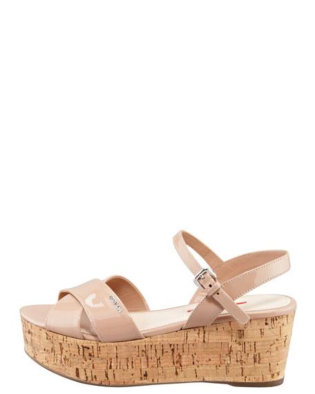 Patent Crisscross Wedge Sandal, Nude