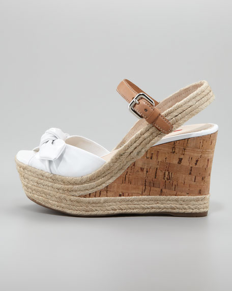 Patent Bow Cork Wedge, White