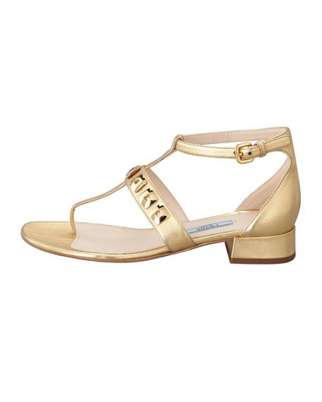 Studded T-Strap Sandal, Platinum