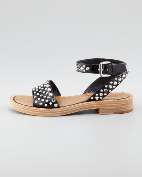 Studded Saffiano Leather Flat Sandal, Black