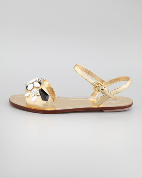Jeweled Ankle-Strap Flat Sandal