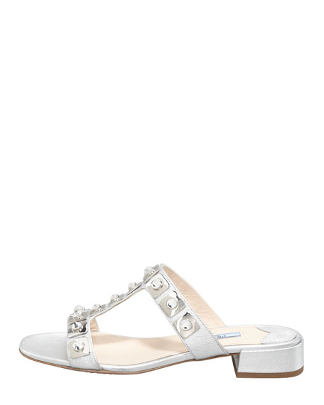 Jeweled Double-Strap Slide Silver