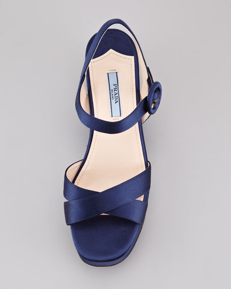 Satin Crisscross Wedge Sandal, Blue