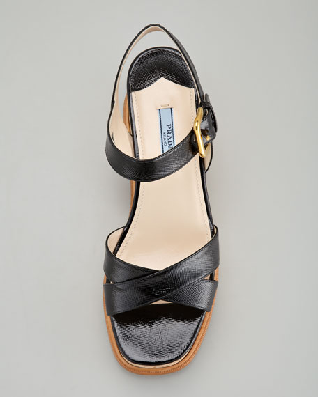 Patent Crisscross Cork Wedge Sandal, Black