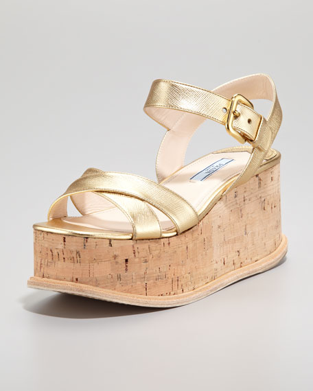 Metallic Crisscross Cork Wedge, Platinum