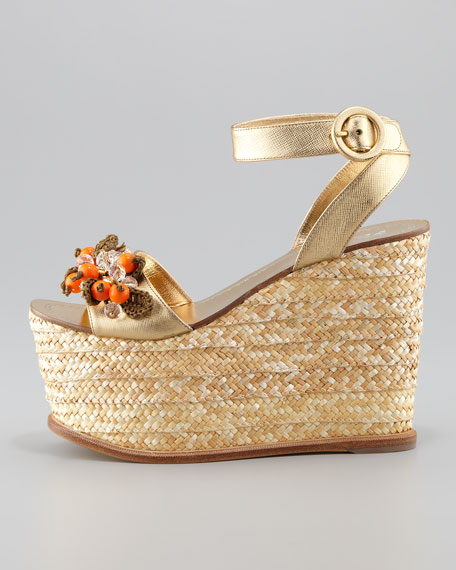 Jeweled Rope Ankle Strap Wedge