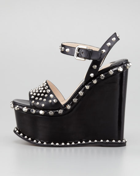 Spazzolato Studded Platform Sandal, Black