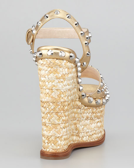 Metallic Studded-Trim Platform Sandal, Platinum