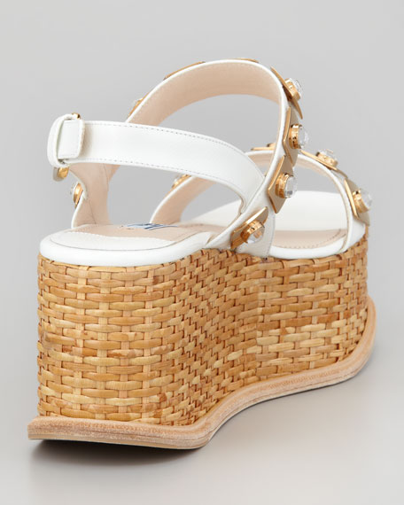 Jeweled Wicker Platform Wedge, White