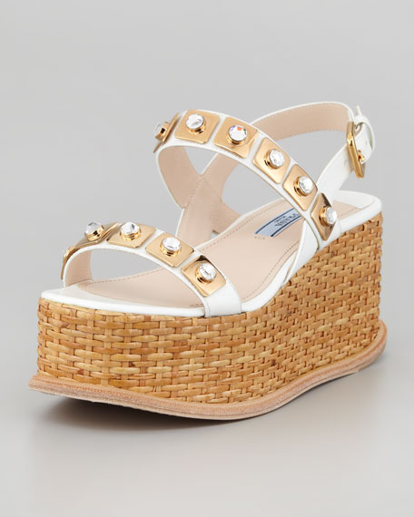 Jeweled Wicker Platform Wedge, White