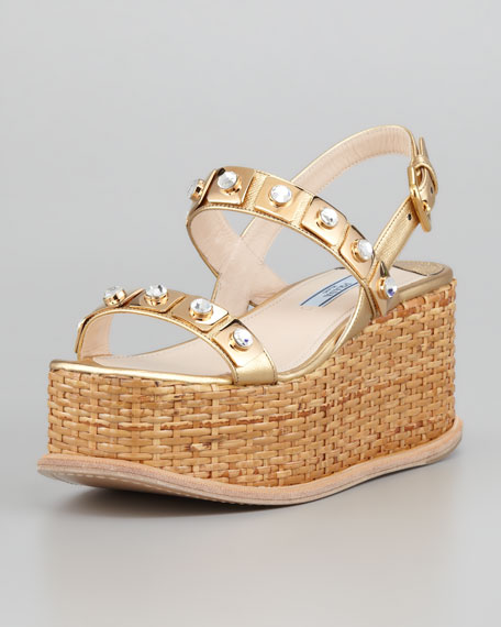 Jeweled Wicker Platform Wedge, Platinum