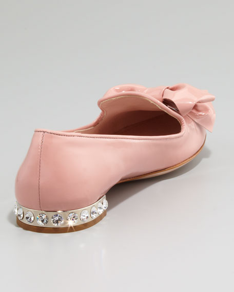 Crystal-Heel Patent Leather Slipper