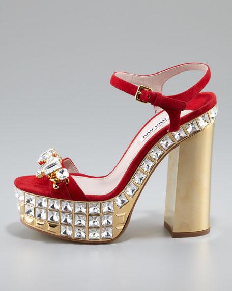 5b6255135322 Miu Miu Jeweled Suede Platform Sandals