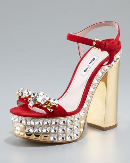 Miu Miu Jeweled Suede Platform Sandals