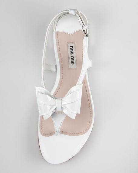 Patent Bow Thong Sandal, White