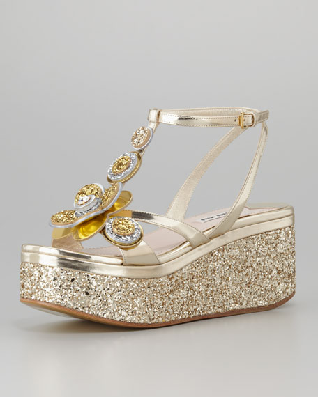 Metallic Glitter Flower Wedge, Gold