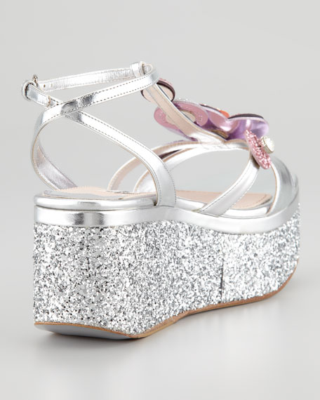 Metallic Glitter Flower Wedge