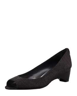 Stuart Weitzman Lizette Demi-Wedge Peep-Toe Pump, Black