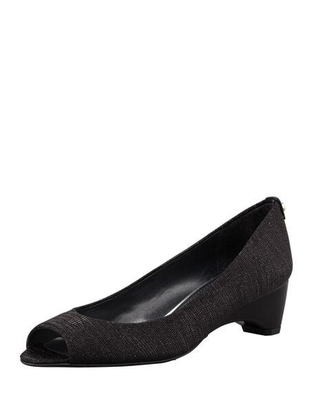 Lizette Demi-Wedge Peep-Toe Pump, Black