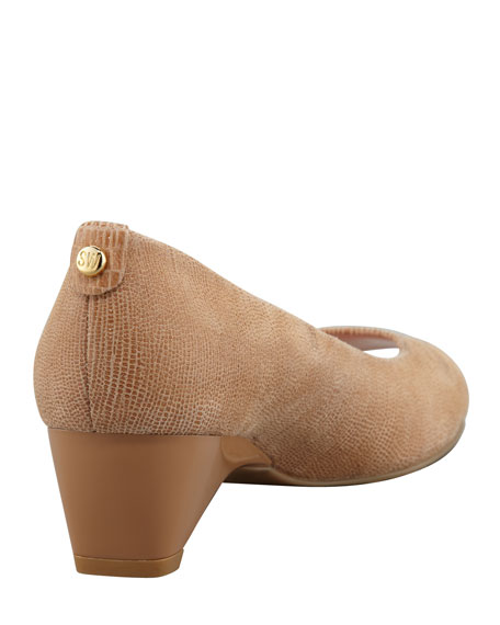 Lizette Demi-Wedge Peep-Toe Pump, Nude
