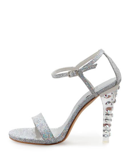 Stuart Weitzman Glittony Lucite-Heel Glitter Sandal