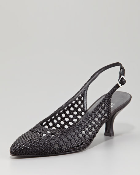 Meeting Woven Leather Slingback, Black