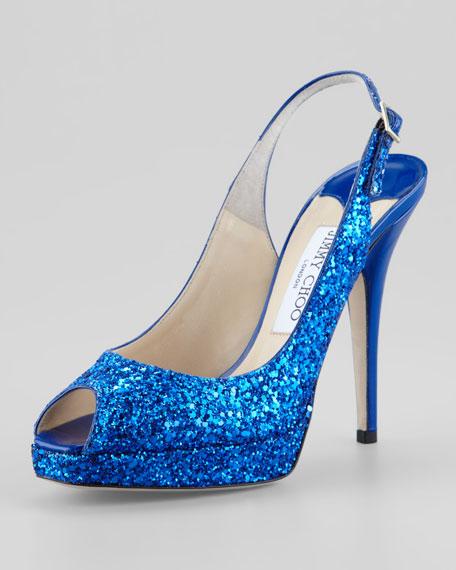Clue Glitter Platform Slingback, Blue