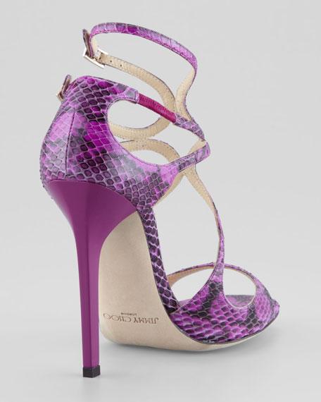 Lance Curvy Snake Sandal, Orchid