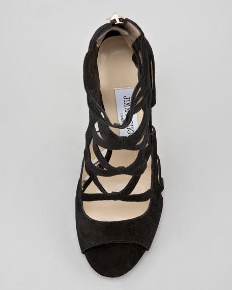 Verdict Suede Cutout Sandal, Black