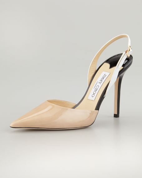 Volt Patent Pointed Slingback, Nude/White/Black