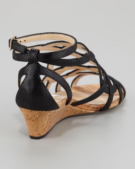 Dawn Metallic Leather and Cork Wedge, Black