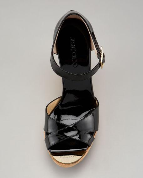 Pape Patent Wedge Sandal, Black