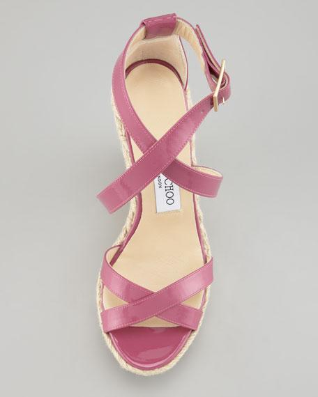 Porto Patent Espadrille Wedge, Pink