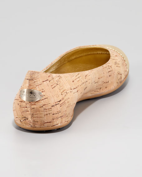 Whirl Cork Ballerina Flat, Gold