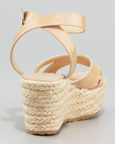 Pepper Patent Leather Espadrille Wedge Sandal, Nude