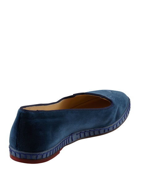 Capri Cats Cotton Velvet Cat-Face Slipper, Blue