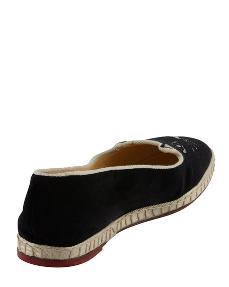 Capri Cats Cotton Velvet Cat-Face Slipper, Black
