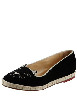 Charlotte Olympia Capri Cats Cotton Velvet Cat-Face Slipper, Black