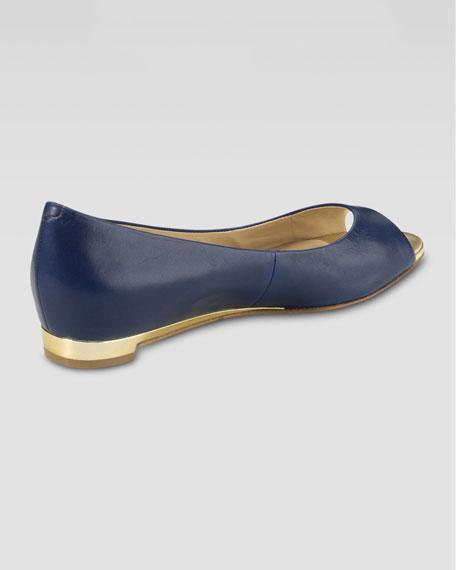 Astoria Peep-Toe Ballerina Flat, Blazer Blue
